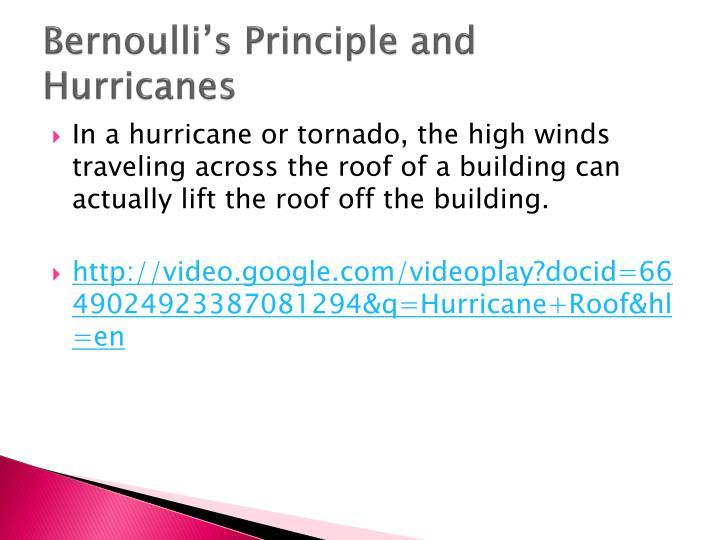 Bernoulli's Principle and Hurricanes