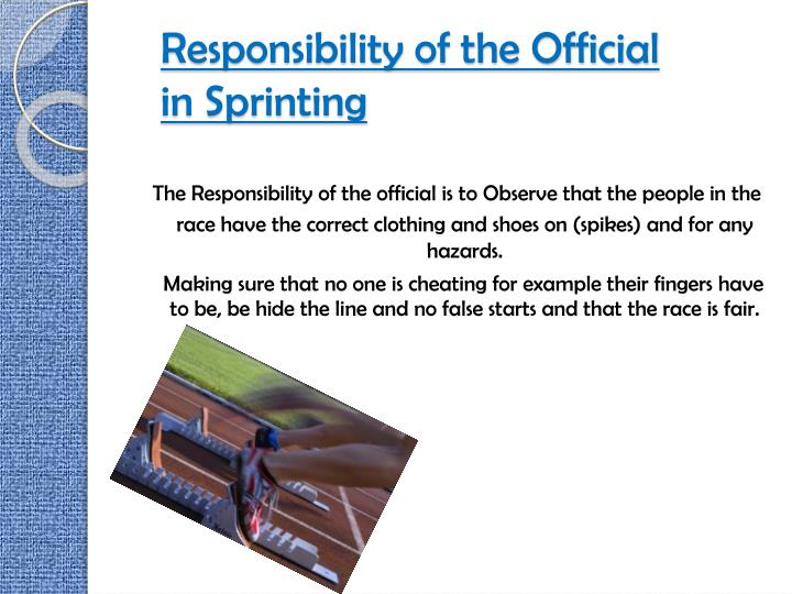 Responsibility of the Official in Sprinting