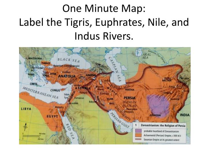 One minute map label the tigris euphrates nile and indus rivers