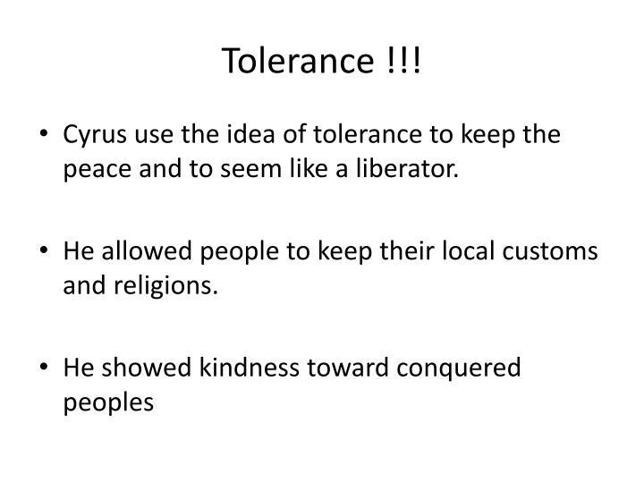 Tolerance !!!