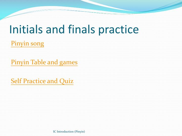 Initials and finals practice