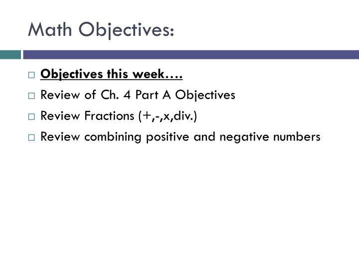 Math objectives