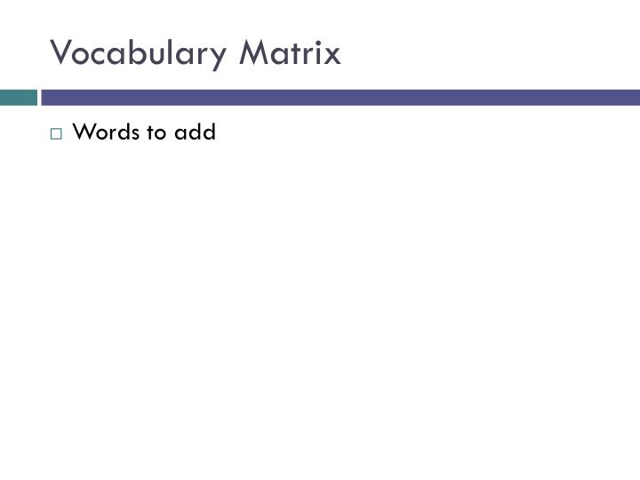 Vocabulary Matrix