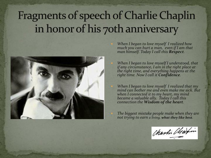 Fragments of speech of Charlie Chaplin in honor of his 70th anniversary
