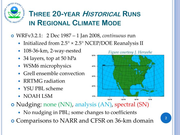 Three 20 year historical runs in regional climate mode