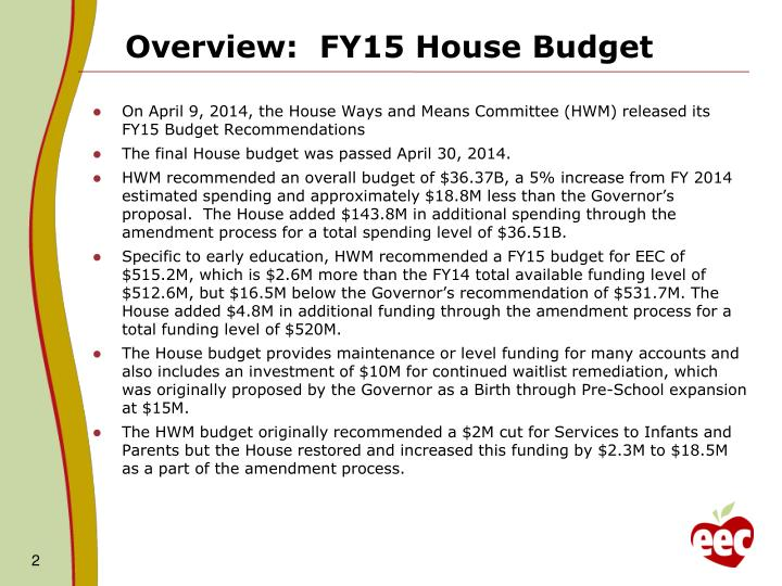 Overview:  FY15 House Budget