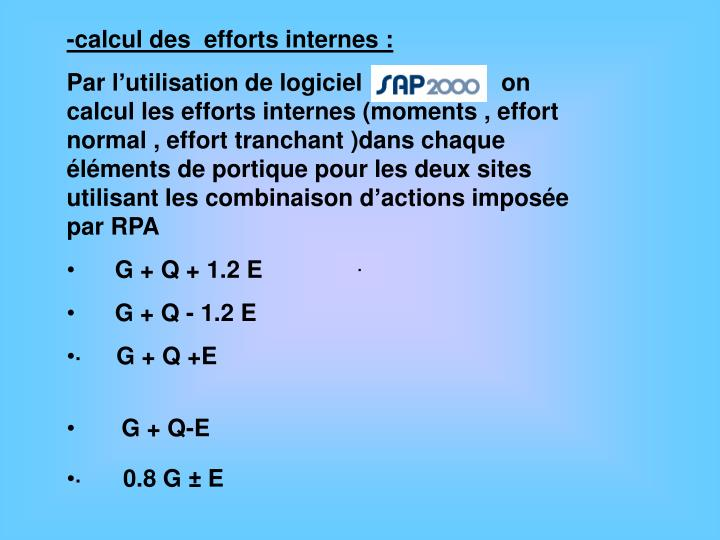 -calcul des  efforts internes :