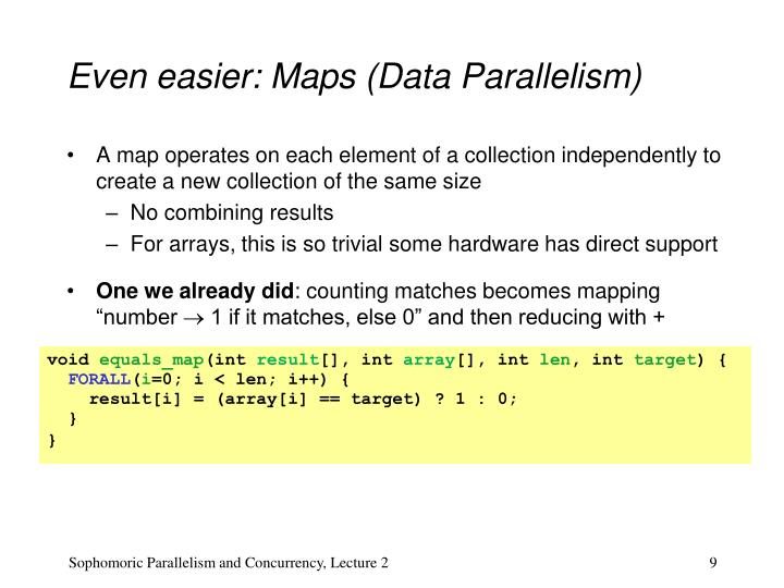 Even easier: Maps (Data Parallelism)
