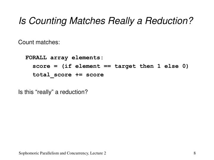 Is Counting Matches Really a Reduction?
