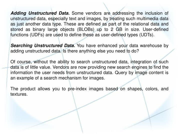 Adding Unstructured Data.