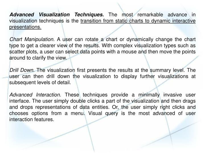 Advanced Visualization Techniques.