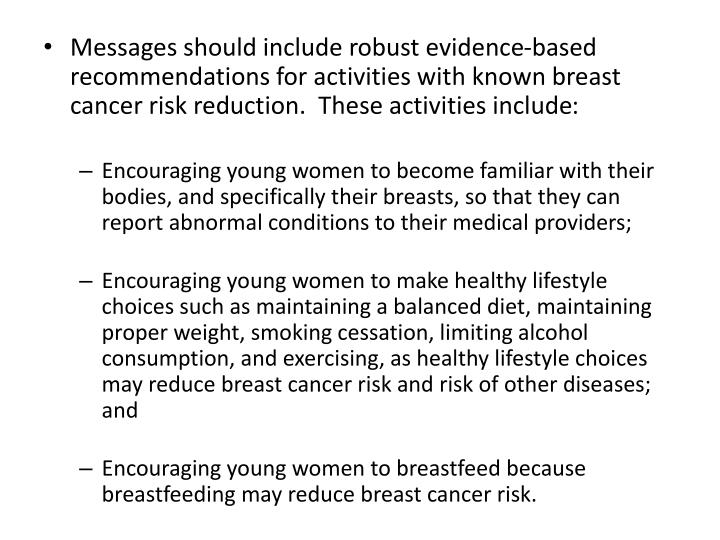 Messages should include robust evidence-based recommendations for activities with known breast cancer risk reduction.  These activities include