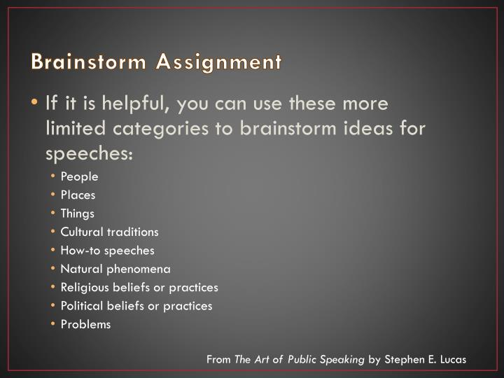 Brainstorm Assignment
