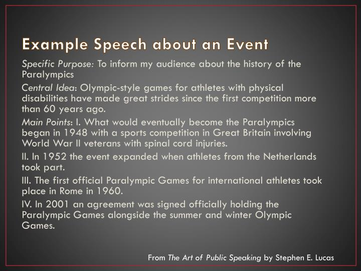 Example Speech about an Event