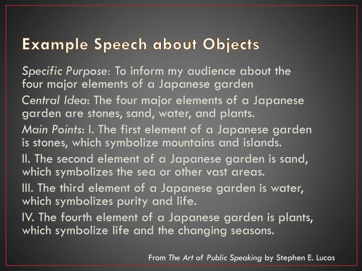 Example Speech about Objects