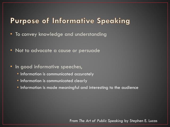 Purpose of Informative Speaking