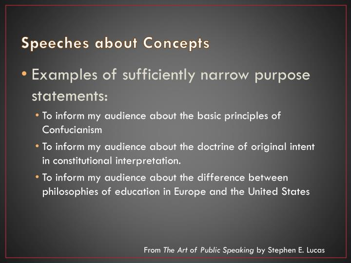 Speeches about Concepts