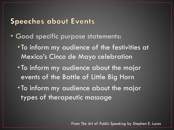 Speeches about Events