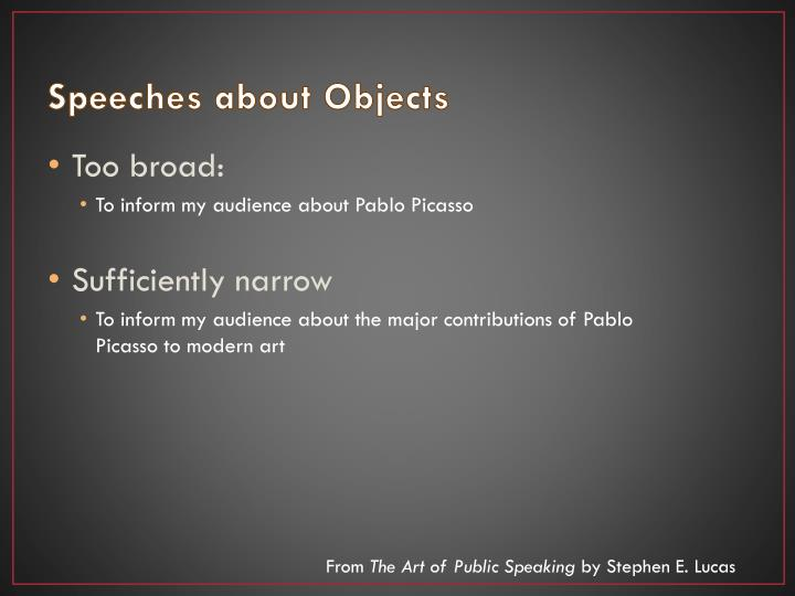 Speeches about Objects