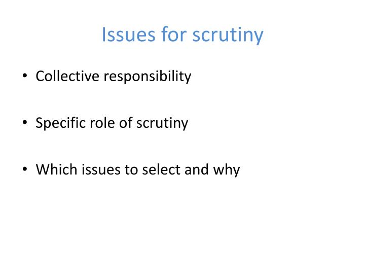 Issues for scrutiny