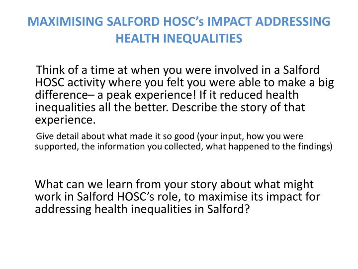 maximising salford hosc s impact addressing health inequalities