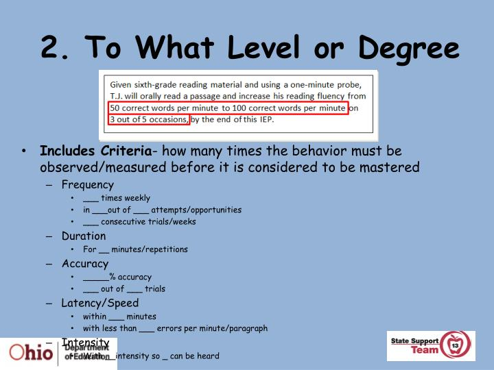 2. To What Level or Degree