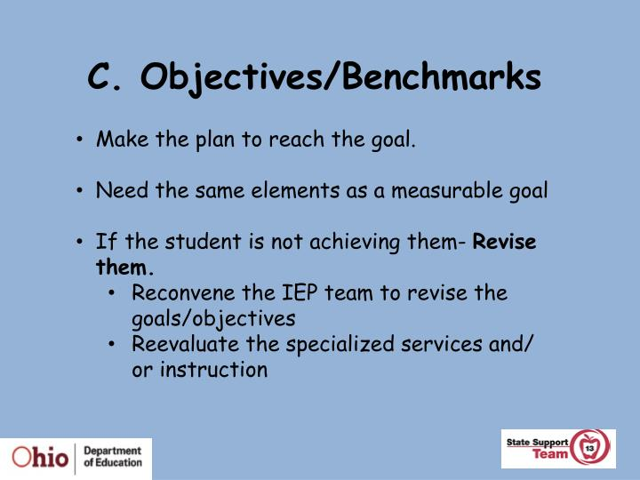 C. Objectives/Benchmarks