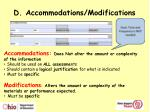 d accommodations modifications