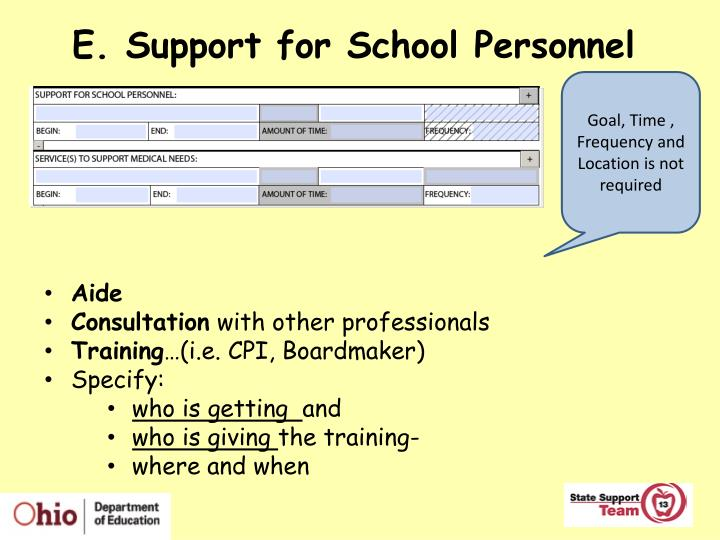 E. Support for School Personnel