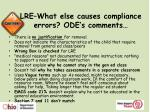 lre what else causes compliance errors ode s comments