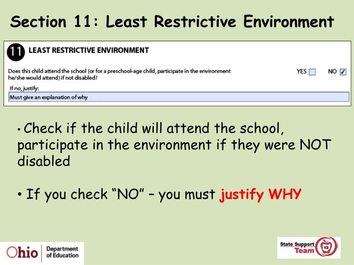 Section 11: Least Restrictive Environment