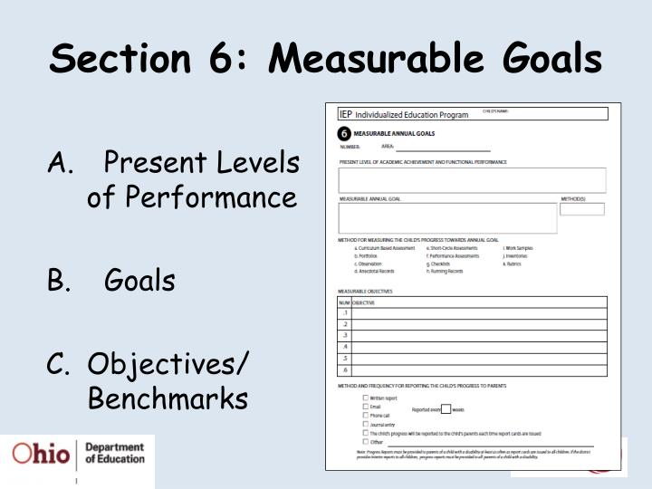 Section 6: Measurable Goals