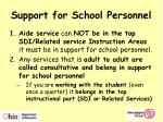 support for school personnel