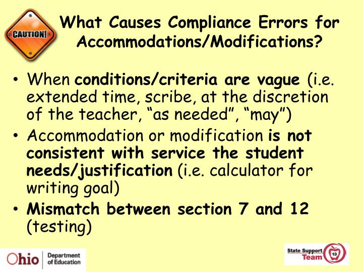 What Causes Compliance Errors for Accommodations/Modifications?