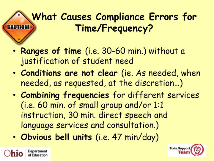 What Causes Compliance Errors for Time/Frequency?