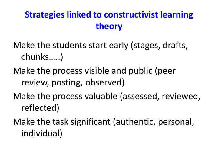 Strategies linked to constructivist learning theory