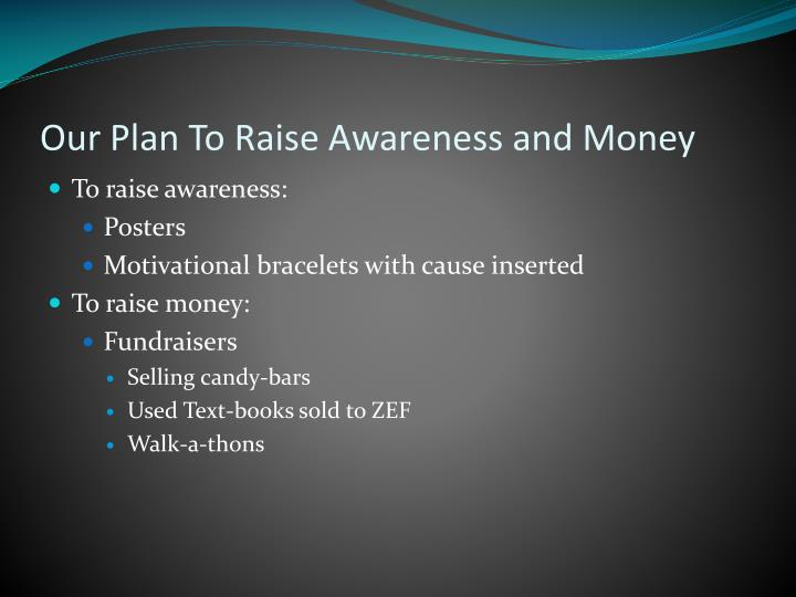 Our Plan To Raise Awareness and Money