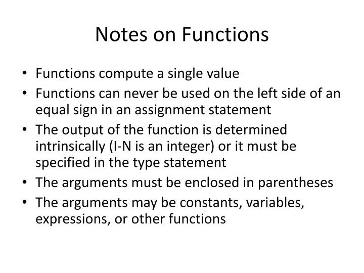 Notes on functions