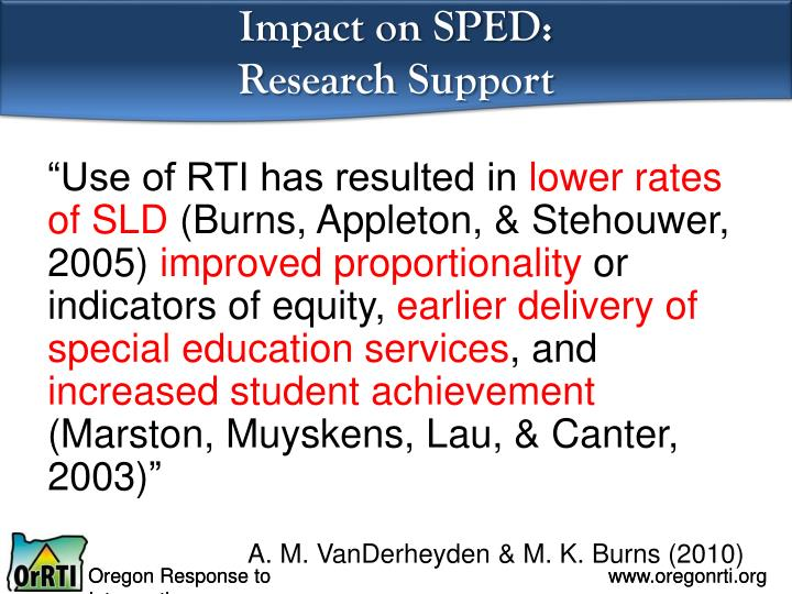Impact on SPED: