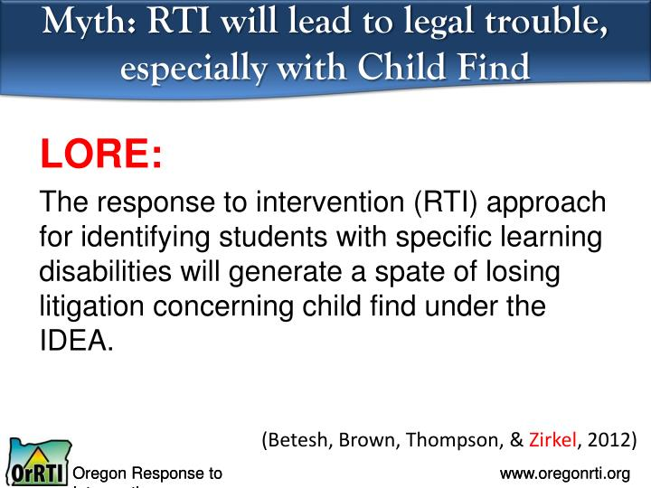 Myth: RTI will lead to legal trouble, especially with Child Find