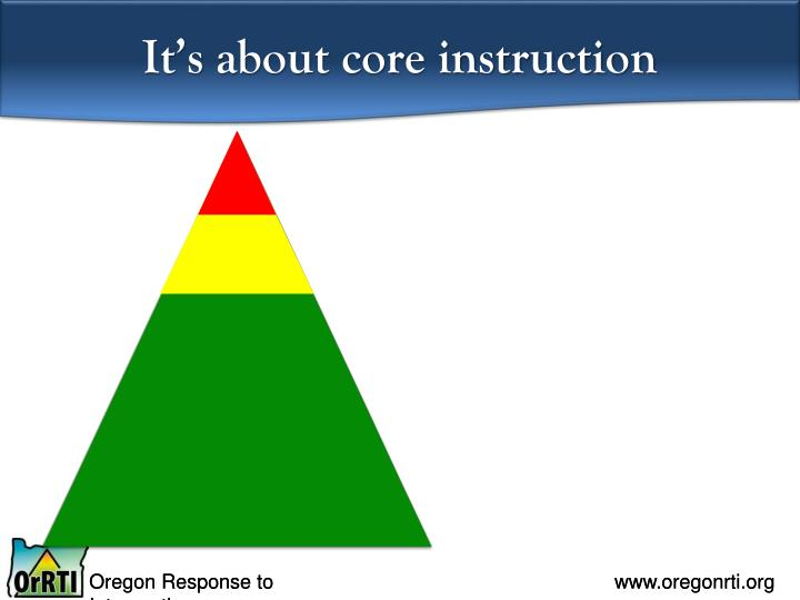 It's about core instruction