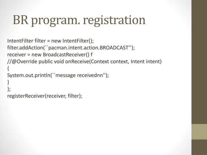 BR program. registration