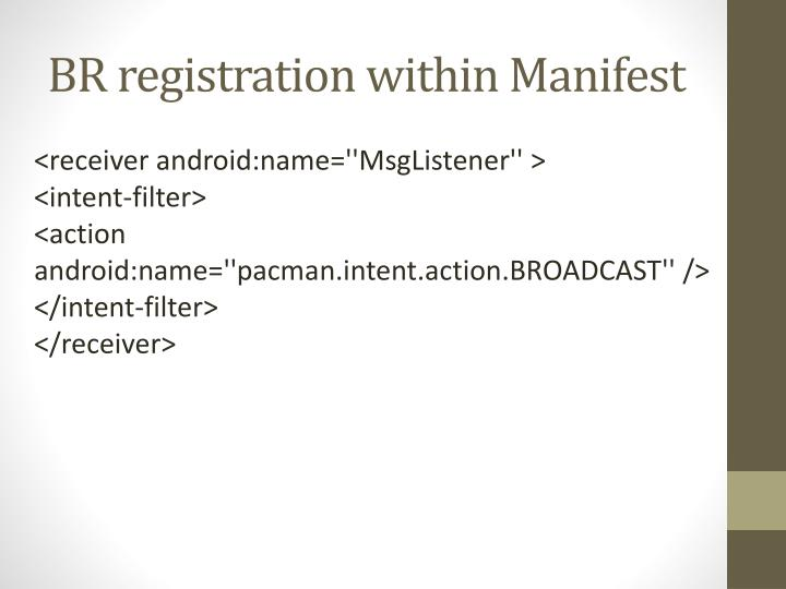 BR registration within Manifest