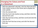 changing the colors and font in a datasheet