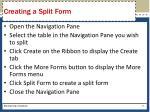 creating a split form