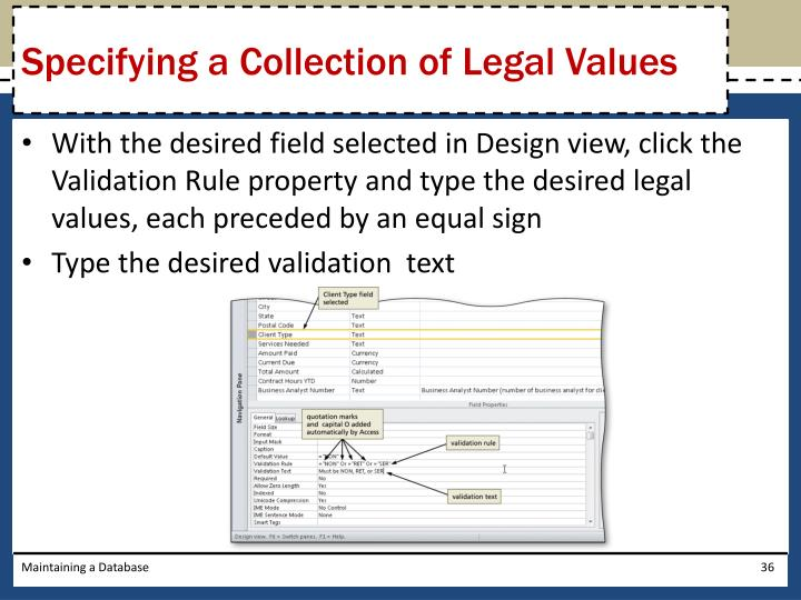 Specifying a Collection of Legal Values