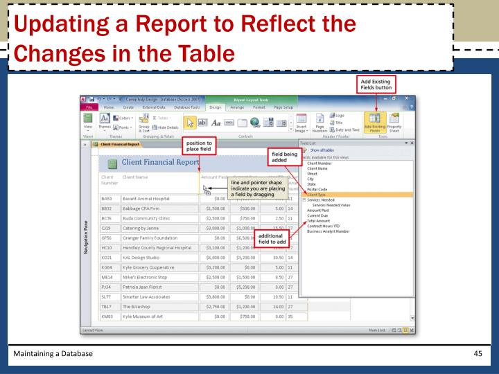 Updating a Report to Reflect the Changes in the Table