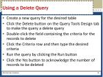 using a delete query