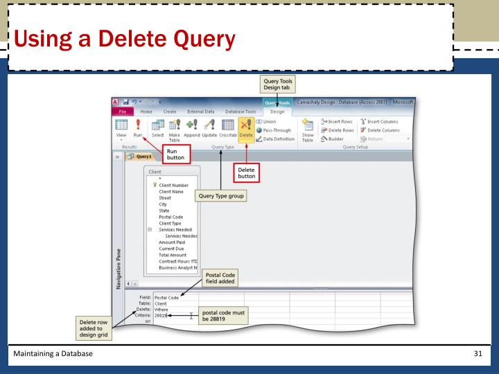 Using a Delete Query