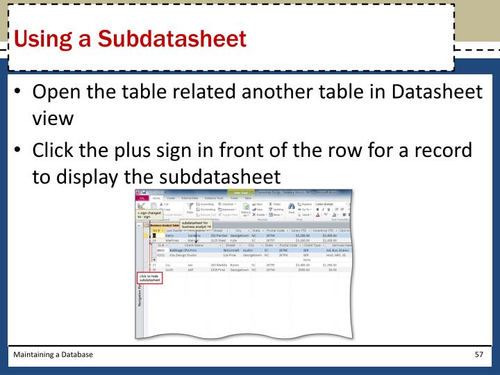 Using a Subdatasheet